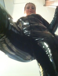Joanna Lark pvc catsuit 229x300 Letter From My Norwegian Slave About His First Pedestal Night